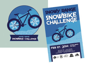 SnowBike Challenge logo, poster, and t-shirt