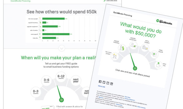 QuickBooks landing page and email