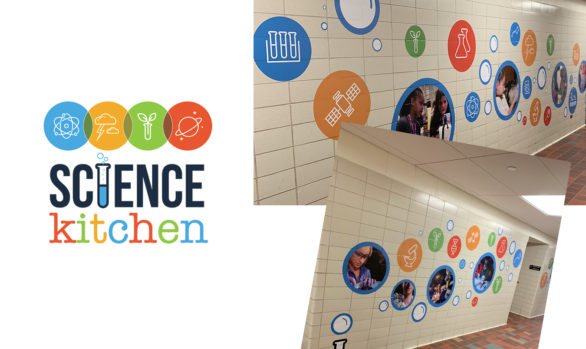 Science kitchen logo and wall art